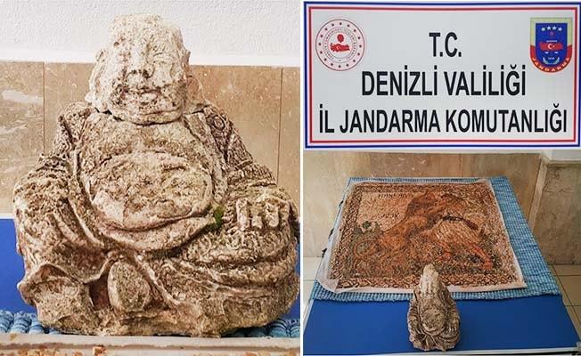 Honaz'da tarihi Buda heykeli ele geçirildi