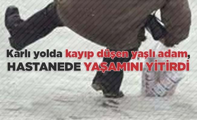 Karlı yolda kayıp düşen Ali dede, hastanede yaşamını yitirdi