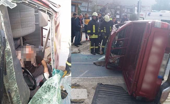 Kontrolden çıkıp yan yatan aracın sürücüsü yaralandı