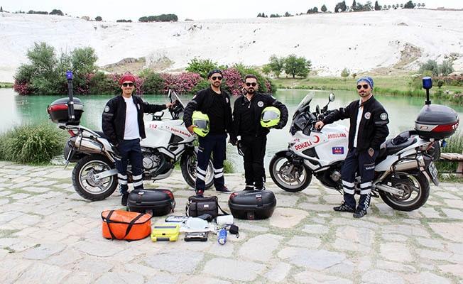 Pamukkale'de acil vakalara ilk müdahaleyi Motosiklet Ambulanslar yapacak