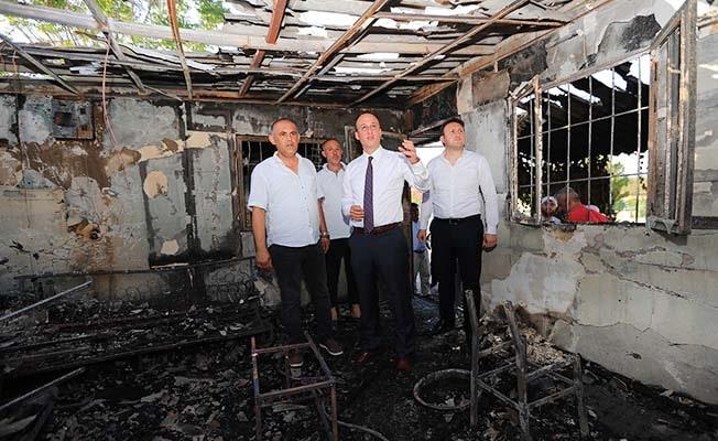 Başkan Örki'den yangın çıkan minibüs durağında geçmiş olsun ziyareti