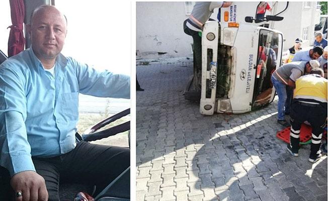 Freni boşalan çöp kamyonu devrildi: 1 yaralı