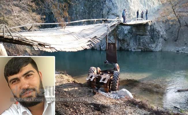 Traktörü ile geçtiği köprü çöktü sürücü yaralandı