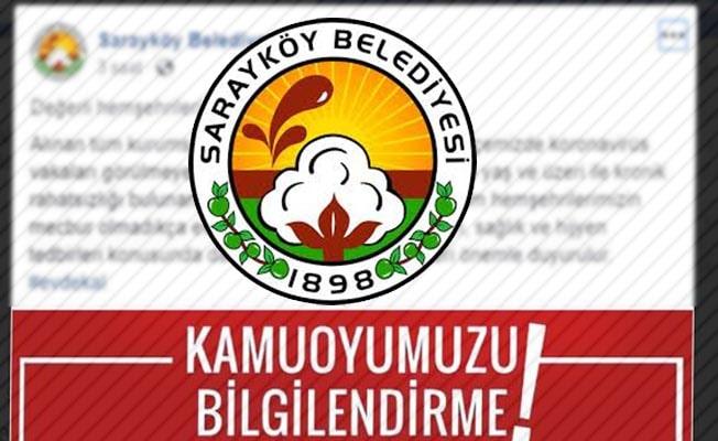 Sarayköy Belediyesi'nden coronavirüs uyarısı