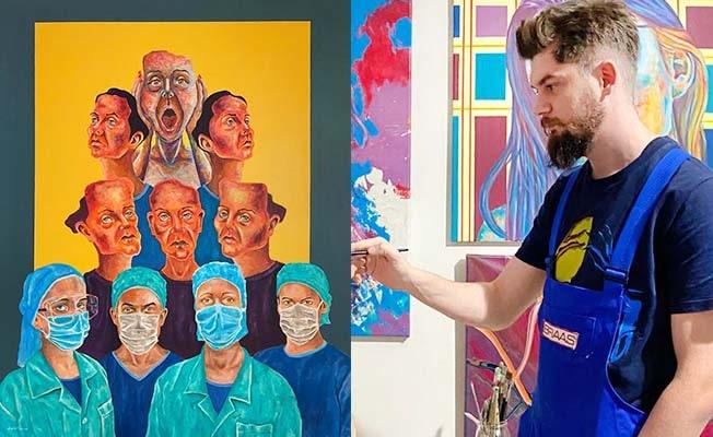 Denizlili sanatçı, yüzleşmeyi hedeflediği 'Büyük İnsanlık' tablosuyla birinci oldu