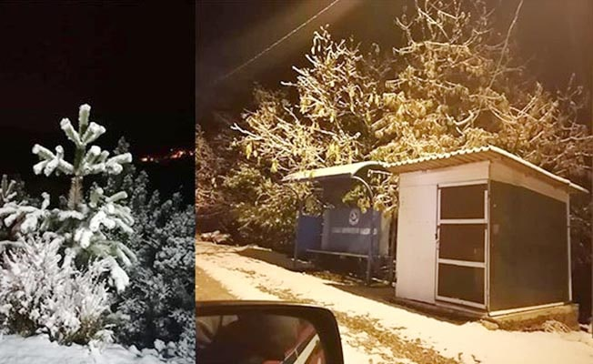 Çameli merkezinde kar yağışı