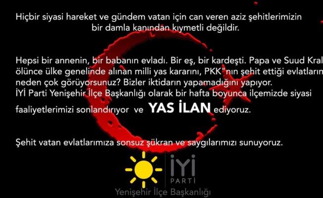 Bursa Yenişehir'de İYİ Parti siyasi faaliyetlerini durdurdu!