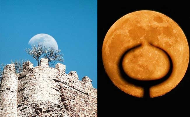 Ayın batma anı adeta görsel şölen oluşturdu