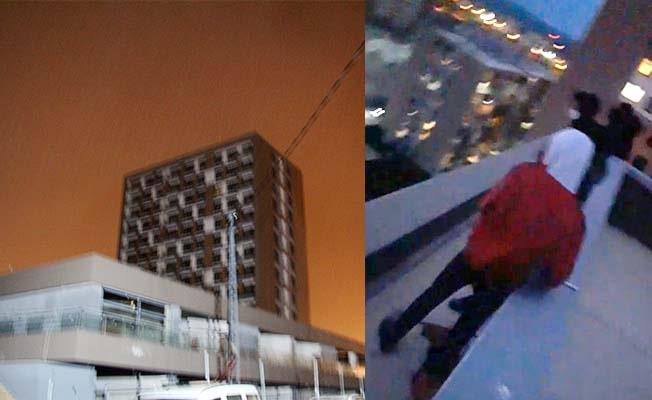 Maaşlarını alamadan tazminatsız kovulan işçiler 20 katlı binanın çatısında eylem yaptı