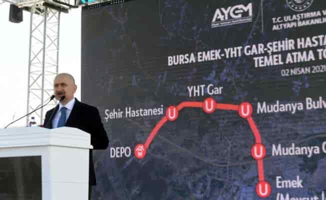Ulaştırma Bakanı Bursa'da... Bursa Şehir Hastanesi metro hattının temeli atıldı