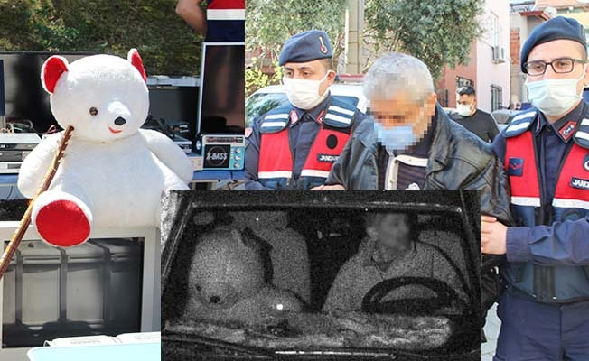 Ünlüleri de soyan hırsızı, araçta yanına oturttuğu oyuncak ayı yakalattı