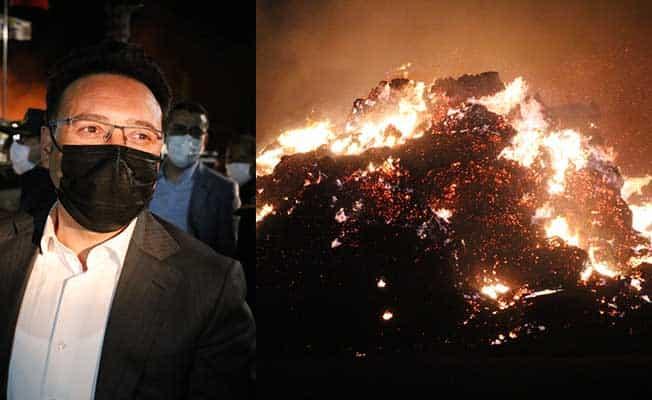 Vali Çiçek biyokütle enerji santralinde devam eden yangınla ilgili konuştu