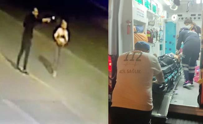 2 günlük gelinin yaralandığı otomobile silahlı saldırı anı kameralara yansıdı