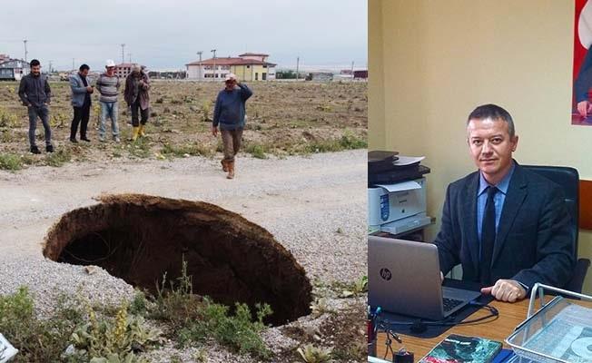 Afyon'da endişe uyandıran göçük ve yarıklara uzmanından açıklama