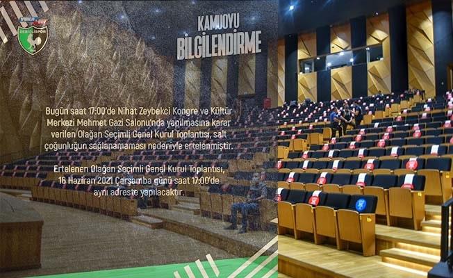 Denizlispor'un olağan seçimli genel kurul toplantısı ertelendi