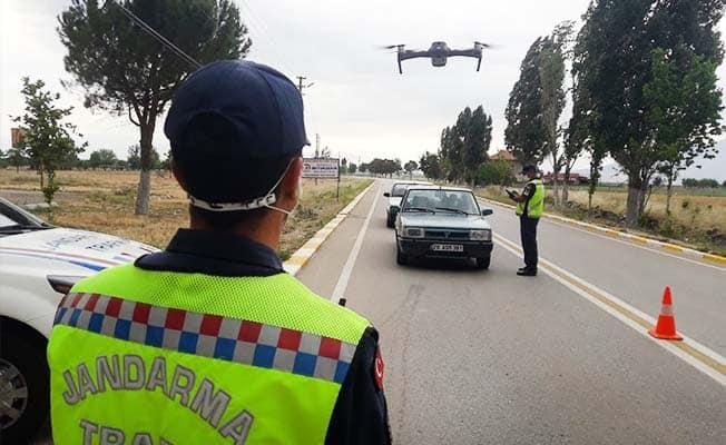 Jandarma'dan helikopter ve drone ile havadan trafik denetimi