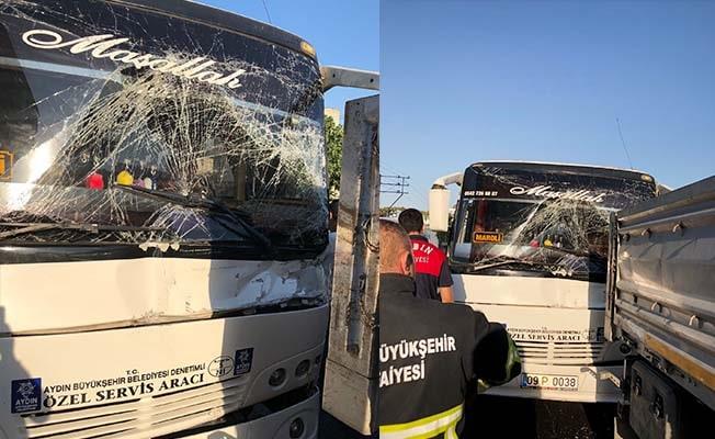 Servis otobüsü ile tır çarpıştı: 11 yaralı