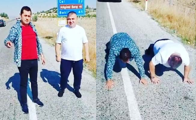 Ünlü sanatçı kaybettiği iddia yüzünden yol kenarında şınav çekti