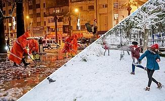 Yolarda karla mücadele, parklarda kar keyfi