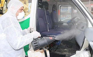 Çameli'de Vefa Sosyal araçları dezenfekte edildi
