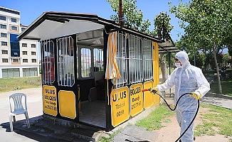 Pamukkale'de dolmuş ve taksi durakları dezenfekte edildi