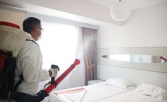Turizm beldesi Karahayıt'ta işyerleri ve oteller dezenfekte ediliyor