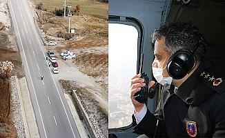 Denizli'de trafik havadan denetlendi