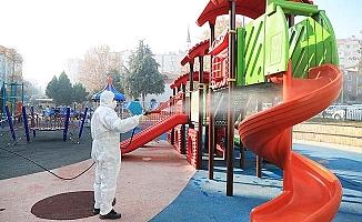 Pamukkale'de parklar çocuklar için dezenfekte ediliyor