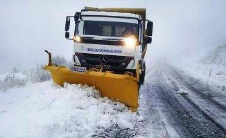 Denizli'nin 6 ilçesinde karla mücadele devam ediyor
