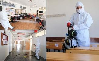 Pamukkale'de tüm okullar dezenfekte edildi