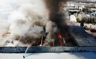 Alevlere teslim olan fabrika havadan görüntülendi