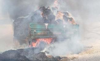 Satmak için getirdiği 30 ton saman yandı