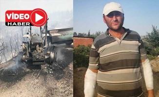 İtfaiye ekiplerine yardım için su taşıyan köylünün traktörü yangında kül oldu