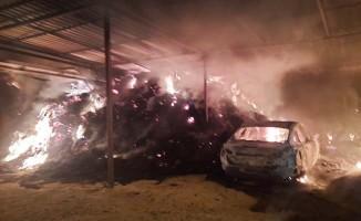 Samanlıkta başlayan yangın ev ve otomobili kül etti