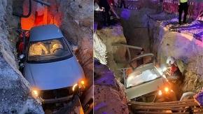 Kanalizasyon çukuruna düşen aracın içinde bayılan sürücü titiz bir çalışma ile kurtarıldı